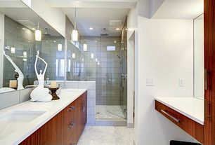 Contemporary Master Bathroom with European Cabinets, Standard height, Rain shower, Simple granite counters, Master bathroom