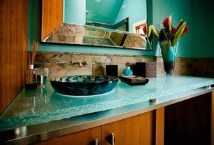 Tropical Powder Room with Powder room, Flush, Think Glass Granula 1.5 Inch Glass Countertop, Vessel sink, European Cabinets