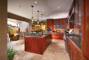 Modern Kitchen with Multiple Sinks, electric cooktop, double wall oven, Paint, Breakfast bar, L-shaped, Flat panel cabinets