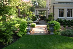 Traditional Landscape/Yard with exterior stone floors, Pathway, Fence