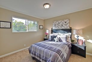 Traditional Guest Bedroom with Carpet, Casement, flush light, Standard height, Crown molding
