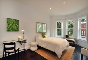 Contemporary Guest Bedroom with Dark wood flooring, Parsons Console Table with Clear Glass Top, Hardwood floors, Bay window