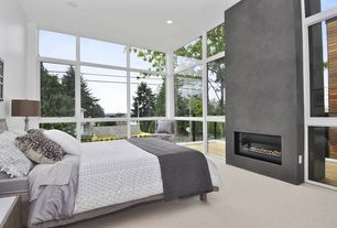 Contemporary Master Bedroom with Carpet, High ceiling