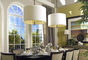 Traditional Dining Room with High ceiling, Hooker furniture abbott place rectangle leg dining table, Arched window