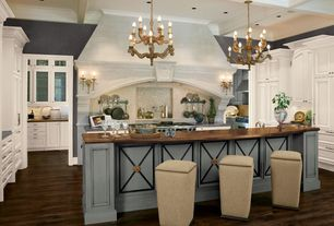 Traditional Kitchen with Wood counters, Slate counters, Crown molding, Chandelier, Raised panel, Breakfast bar, U-shaped