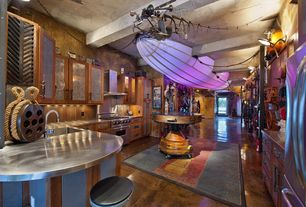 Eclectic Kitchen with Kitchen island, Flat panel cabinets, Kosas Home Kitchen Island, European Cabinets, Wall sconce, Flush