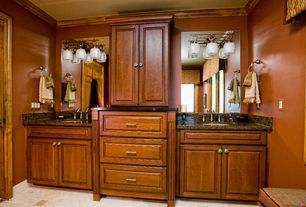 Traditional Master Bathroom with Framed Partial Panel, stone tile floors, Standard height, Simple granite counters, Casement