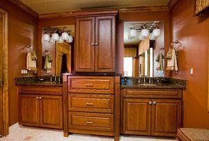 Traditional Master Bathroom with full backsplash, Standard height, Master bathroom, Raised panel, Simple granite counters