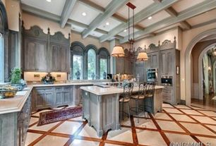 Traditional Kitchen with Complex Granite, U-shaped, Breakfast bar, Box ceiling, Kitchen island, Hardwood floors, High ceiling
