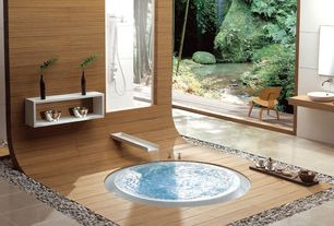 Asian Master Bathroom with Kaesch overflow collection oriental soaking tub, frameless showerdoor, Rain shower, Wood counters