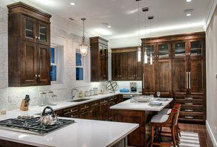 "Contemporary Kitchen with Kitchen island, Possini Euro Tinela 5 1/4"" Wide Clear Glass LED Mini Pendant, Pendant light"