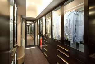 Modern Closet with French doors, Built-in bookshelf, Dulles Glass and Mirror Custom Glass Shelf, Carpet