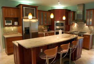 Contemporary Kitchen with Pendant light, Marble backsplash, Undermount sink, Marble countertops, Ceramic Tile, L-shaped