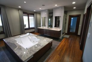 Contemporary Master Bathroom with French doors, Undermount sink, Double sink, Flush, European Cabinets, Hardwood floors