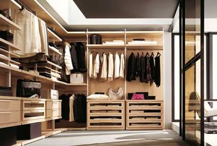 Contemporary Closet with Built-in bookshelf, Carpet
