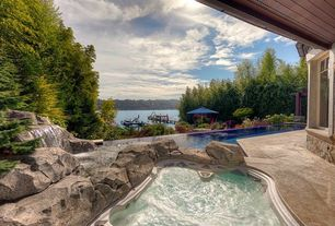 Contemporary Hot Tub with exterior stone floors, Casement, Pool with hot tub, Trellis