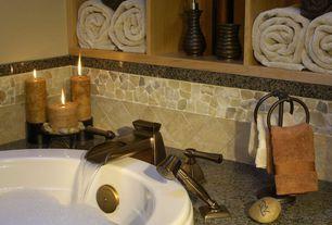 Modern Full Bathroom with Waterfall faucet, Simple granite counters, MS International - Cactus Granite, Built-in shelving