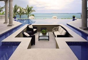 Contemporary Patio with Infinity pool, Pathway, exterior tile floors
