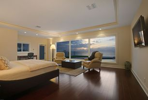 Modern Master Bedroom with Crown molding, Wall sconce, Casement, Hardwood floors, can lights, picture window, Paint