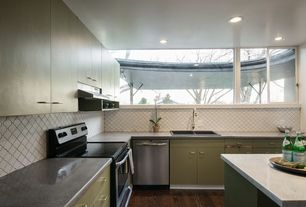 Eclectic Kitchen with dishwasher, Standard height, gas range, Kitchen island, Simple granite counters, European Cabinets