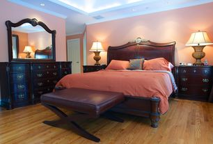 Traditional Master Bedroom with Crown molding, Hardwood floors