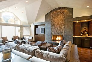 Contemporary Living Room with Elliot fabric microfiber 2-piece sectional in stone, Hardwood floors, High ceiling