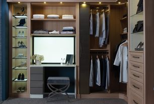 Contemporary Closet with Carpet, Built-in bookshelf