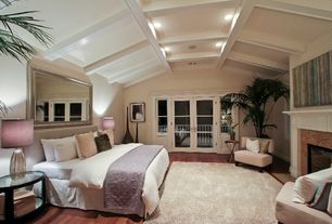 Traditional Master Bedroom with Pottery barn silver beaded floor mirror, Pottery barn dalton shag rug - ivory, Exposed beam