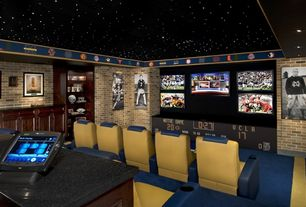 Man Cave with interior wallpaper, Ms international black galaxy granite, interior brick, Hanson Carolina Collection - Newport