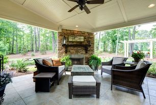 Craftsman Patio with Pathway, exterior stone floors, Trellis, St.Tropez Wicker Lounge Love Seat