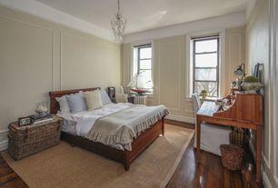 Traditional Master Bedroom with Pendant light, specialty window, Standard height, Hardwood floors