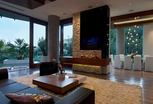 Contemporary Living Room with Momeni Luster Shag Hand Tufted Polyester Rug, Columns, Laminate floors