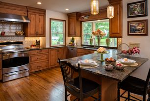 Craftsman Kitchen with Undermount sink, Raised panel, Glass Jar Pendant, Tall, Gray, Complex granite counters, U-shaped