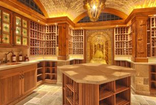 Craftsman Wine Cellar with High ceiling, Arched window, Chandelier, Crown molding, travertine floors
