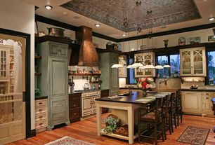Country Kitchen with L-shaped, Flush, Pendant light, Flat panel cabinets, High ceiling, Custom copper range hood, Custom hood