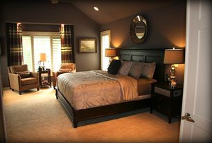 Art Deco Master Bedroom with specialty window, Uttermost amberlyn mirror, Carpet, High ceiling, can lights