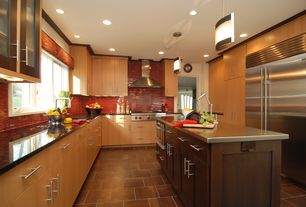 Contemporary Kitchen with U-shaped, Pendant light, Subzero side by side freezer-refridgerator, Crown molding, flush light