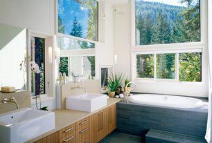 Contemporary Master Bathroom with Master bathroom, Flush, Walter zanger paradigm tile flannel honed, Pendant light