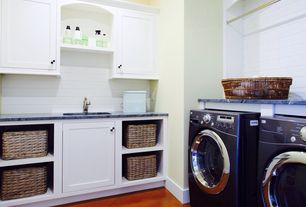 Traditional Laundry Room with Concrete tile , Undermount sink, Built-in bookshelf