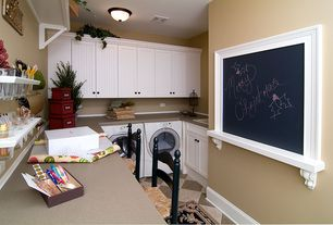 Cottage Laundry Room with Ironing Board, flush light, Interlocking Pavers, laundry sink, Built-in bookshelf, Paint