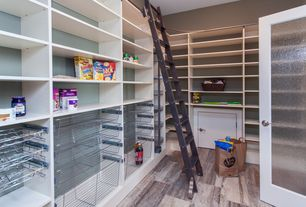 Contemporary Pantry with French doors, Hardwood floors, Built-in bookshelf, Standard height