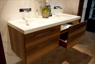 Contemporary Master Bathroom with MS International Roma Travertine, Dupont Corian Designer White