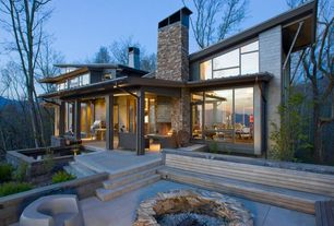 Contemporary Patio with Fire pit, Pathway, picture window, exterior concrete tile floors, exterior tile floors, French doors