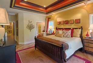 Country Master Bedroom with Crown molding, Box ceiling, Standard height, can lights, flush light, Casement, Hardwood floors