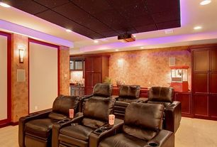 Traditional Home Theater with Carpet, can lights, Wall sconce, Standard height, Built-in bookshelf