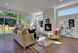 Contemporary Living Room with Transom window, Hardwood floors