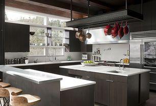 Contemporary Kitchen with Standard height, Metal hanging pot rack, Breakfast bar, Zuo modern twin peaks bar chair, Wall Hood