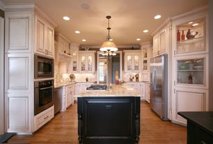 Country Kitchen with Inset cabinets, KraftMaid Cabinetry Cherry Square Raised Panel In Antique Dove White, Glass panel