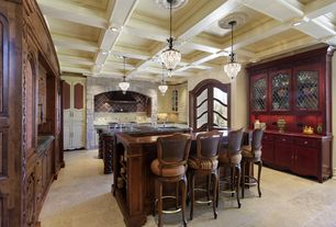 Traditional Kitchen with Raised panel, Wood counters, Wall Hood, Undermount sink, Kitchen island, Stone Tile, Box ceiling