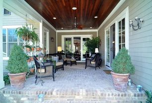 Craftsman Porch with Casement, exterior brick floors, French doors, Screened porch, picture window